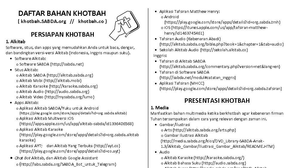 PDF Cheat Sheet Khotbah